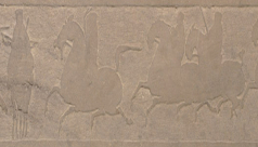 Frieze from the tomb of Zuo Biao, sandstone 110cm long, dated by inscription to 150 AD, Eastern Han dynasty, Mamaozhuang village, China, # 925.25.22.N