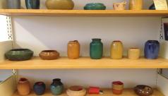 Detail of ceramic vessels on shelf