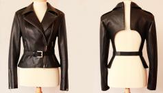 Separating Leather Jacket. IZ Adaptive Clothing. Photo by Adrienne Mountain