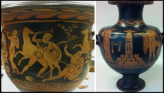 A Greek krater (wine-bowl) and hydria (water-jar) from the ROM storerooms and now on display.
