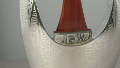 detail of silver teapot