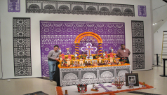 The ofrenda in all its glory with Arturo Estrada Hernández (left) and its creator Sergio Alejandro Hernández Martínez (right) in the ROM's Roloff Beny Gallery on Level 4.