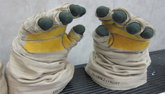 Orlan space gloves from Canadian Space Agency astronaut Chris Hadfield's collection.