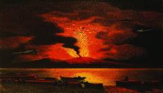 Antique colour illustration (c. 1866) of Mount Vesuvious erupting