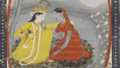Miniature painting showing Radha and Krishna, (gouache on paper), Mughal period, India, 18th century