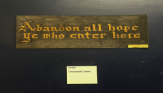 """A photo of the sign posted outside the door of the ROM's dermestid beetle colony quotes Dante's Inferno, """"Abandon all hope ye who enter here"""""""