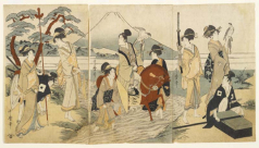 Hawking Party in Front of Mount Fuji; Kitagawa Utamaro (1754-1806); Paper, Oban triptych format, woodblock-printed with seven colours; Japan; Edo period; circa 1790 AD, ca 1800; 926.18.424; Length 58cm; Width 95cm