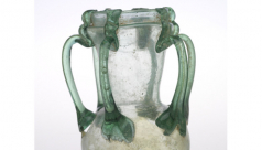Six-handled green glass jar - Blown glass with trailed handles, Syria - Late Roman - c. 300-425 AD, ROM #909.3.41   - The Walter Massey Collection - Height 12.9cm  Width 9.4cm  Diameter 7.6cm. ROM Photography.
