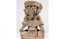 An urn (HM 1953) from a collection of Zapotec artifacts; analysis suggests that this urn is a composite with ancient pieces integrated into a new object that was fabricated in the early twentieth century.