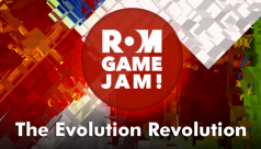 "Logo of the 2014 ROM Game Jam with the theme ""The Evolution Revolution"""