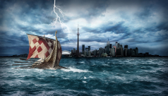 Graphic showing a Viking ship in Toronto harbour
