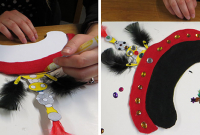 hands decorate the hat