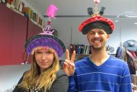 interns wearing fashionable court hats