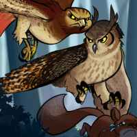 an animated hawk and owl fight over a squirrel