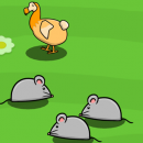an animated dodo stands on a green field surrounded by rats