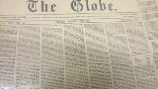 The Globe and Mail Newspaper, July 1, 1867