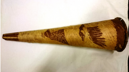a cone of wood with images of geese and wild fowl