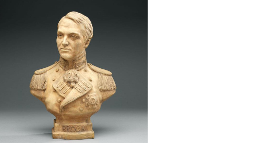 a terracotta bust of a man wearing a military uniform