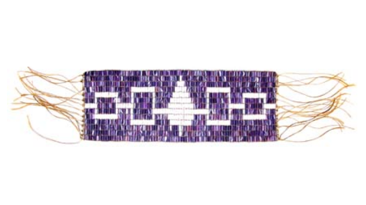 a belt made of white and purple beads