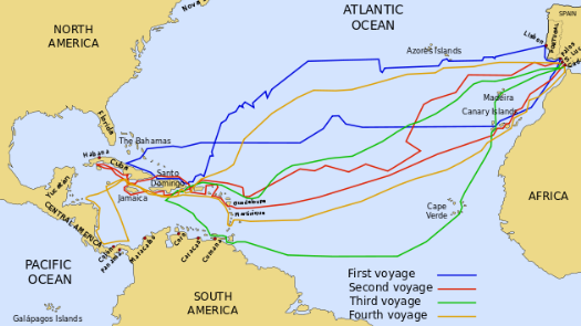 a map showing the four voyages of Columbus