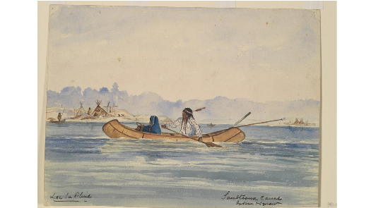 a painting of two people in a canoe