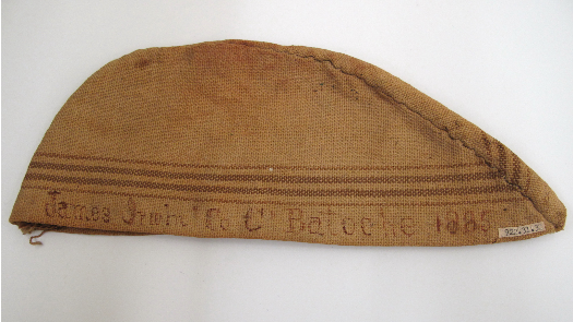 a hat made from an old flour sack