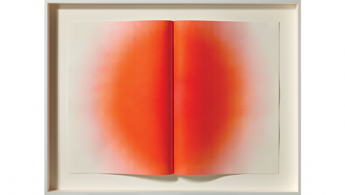 Red sculptural print that looks like a raised book fold with a dispersing red dot in the middle