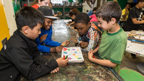 Club STEAMmates at St. Albans Boys and Girls Club mine for gems and minerals using satellite imaging technology.