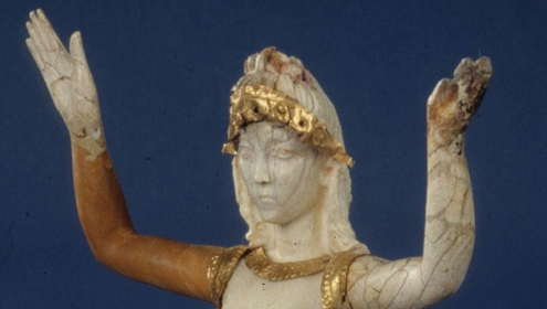 Detail of the head of the Minoan Ivory Goddess