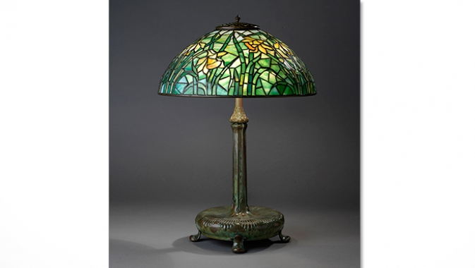 Table lamp with stain-glass shade.