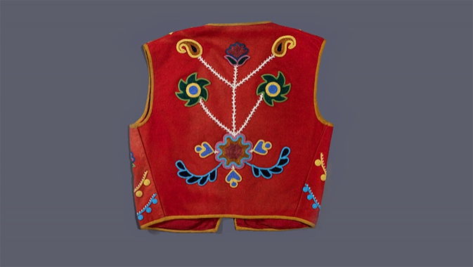 Vest with floral beadwork